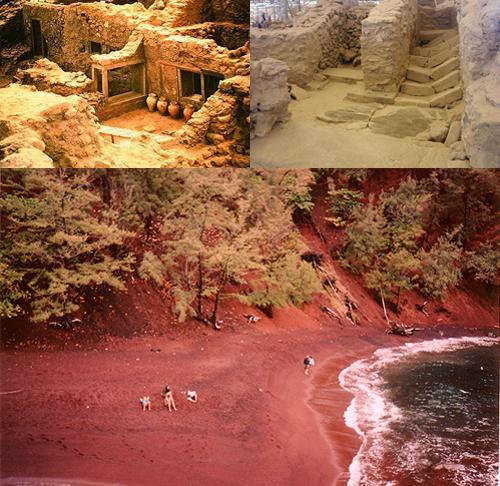 Akrotiri. Abajo playa roja